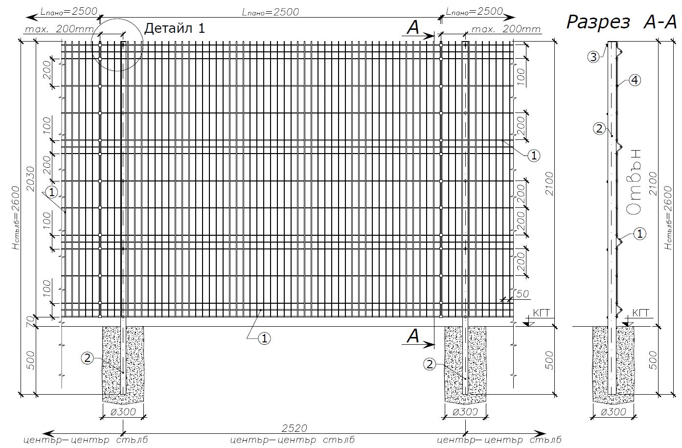 Оградни пана NYLOFOR 3D LIGHT ZNAL - чертеж