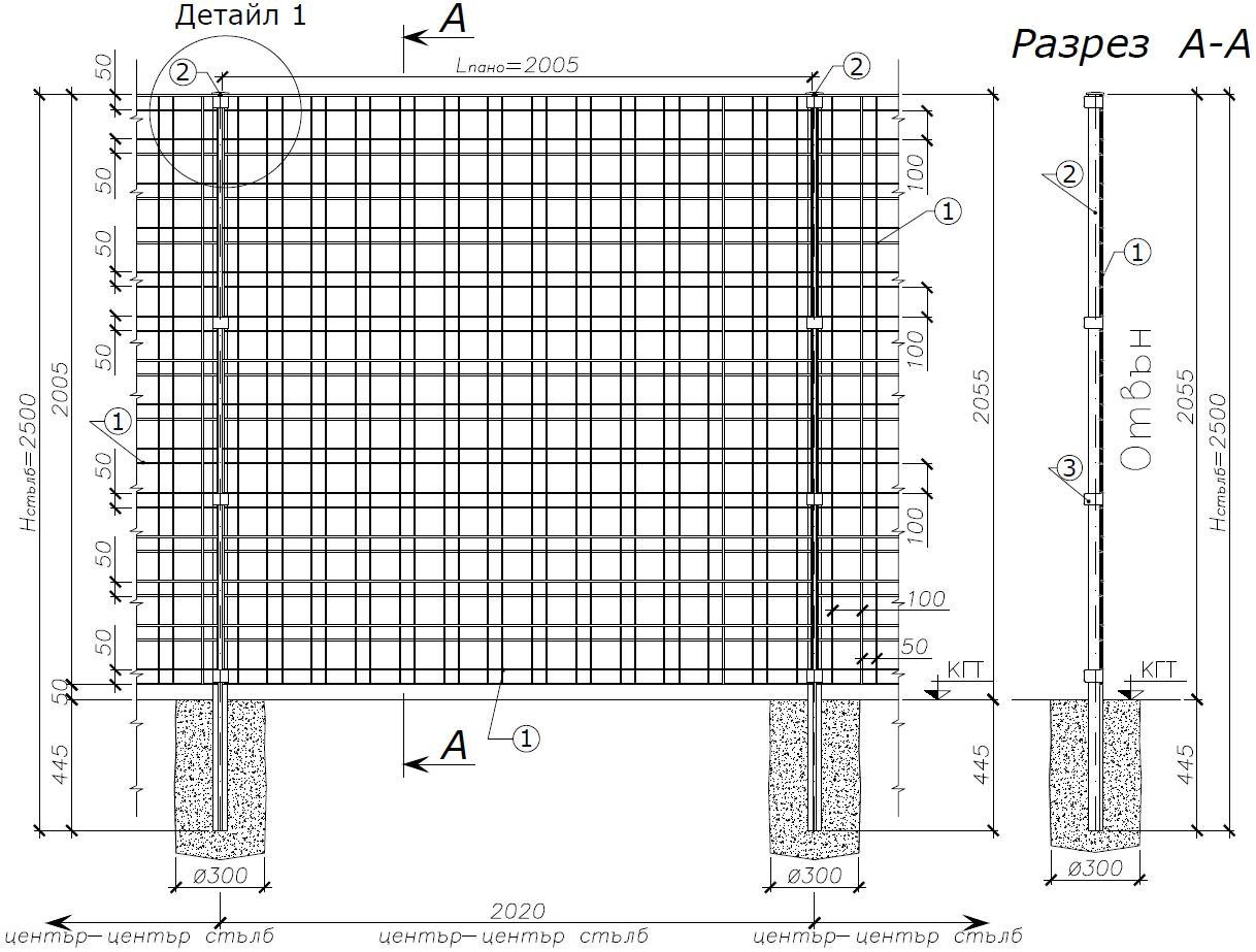 Оградни пана ZENTURO за жилищни сгради и ваканционни комплекси - Чертеж