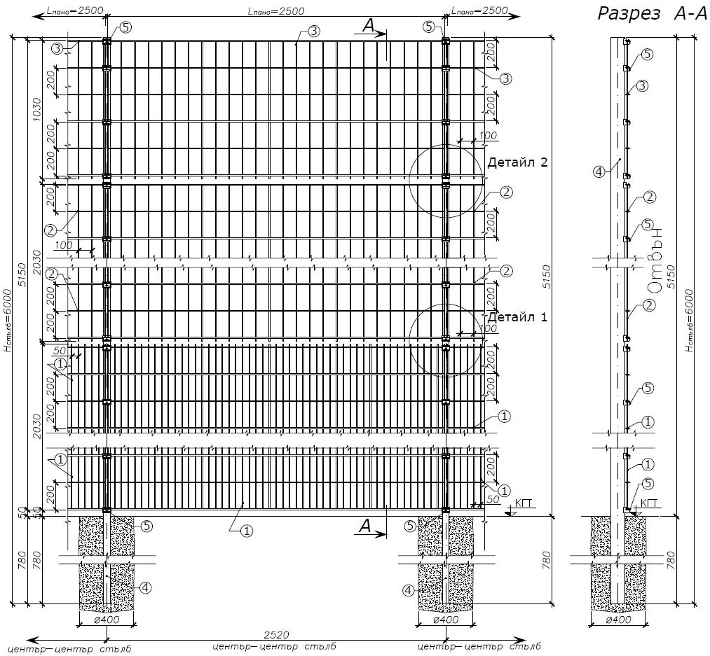 Оградна система BEKASPORT - чертеж